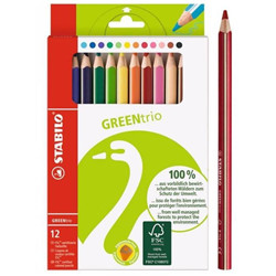 12 crayons GreenTrio triangulaires