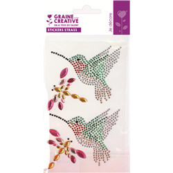 4 stickers strass theme colibri 95x155