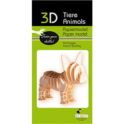 Animal 3D en papier - bouledogue