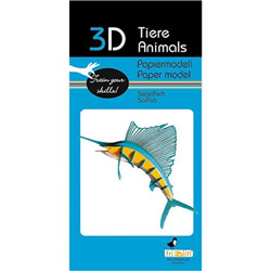 Animal 3D en papier - poisson bleu