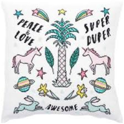 Coussin à broder licorne