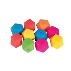 Perles en silicone hexagone multi 14mm ø