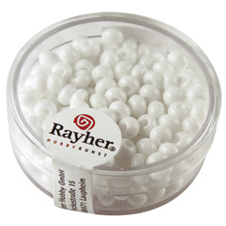 Perles indiennes, 4,5 mm, blanc