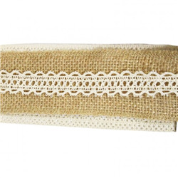 Ruban jute nature dentelle 5m x 50mm