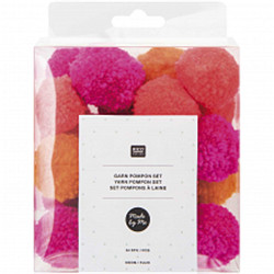 Set pompons mixte fluo