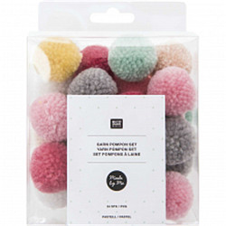 Set pompons mixte pastel